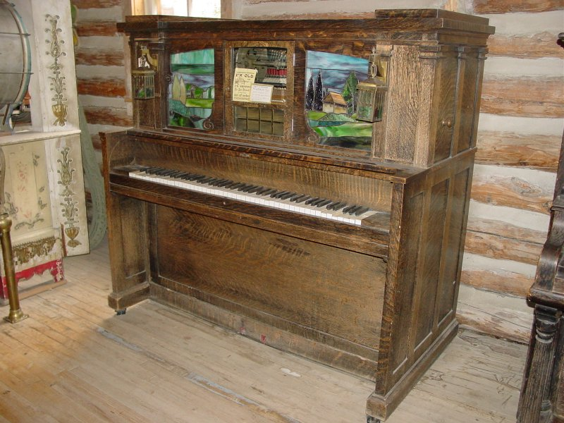 The Wurlitzer DX orchestrion in the Nevada City, Montana, Music Hall, before restoration.