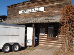 The trailer backed up to the front entrance of the Nevada City Music Hall, originally a dining hall in Yellowstone National Park.
